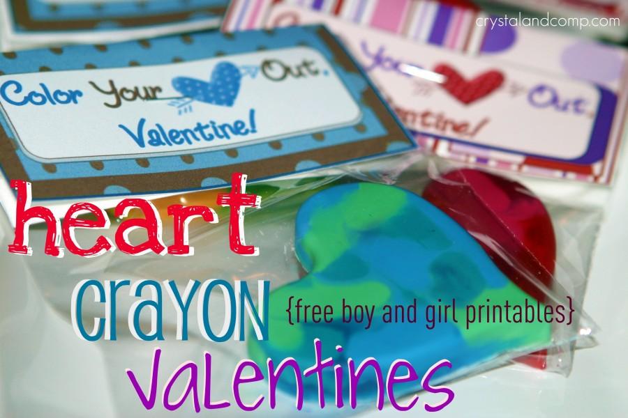 Valentine heart crayons