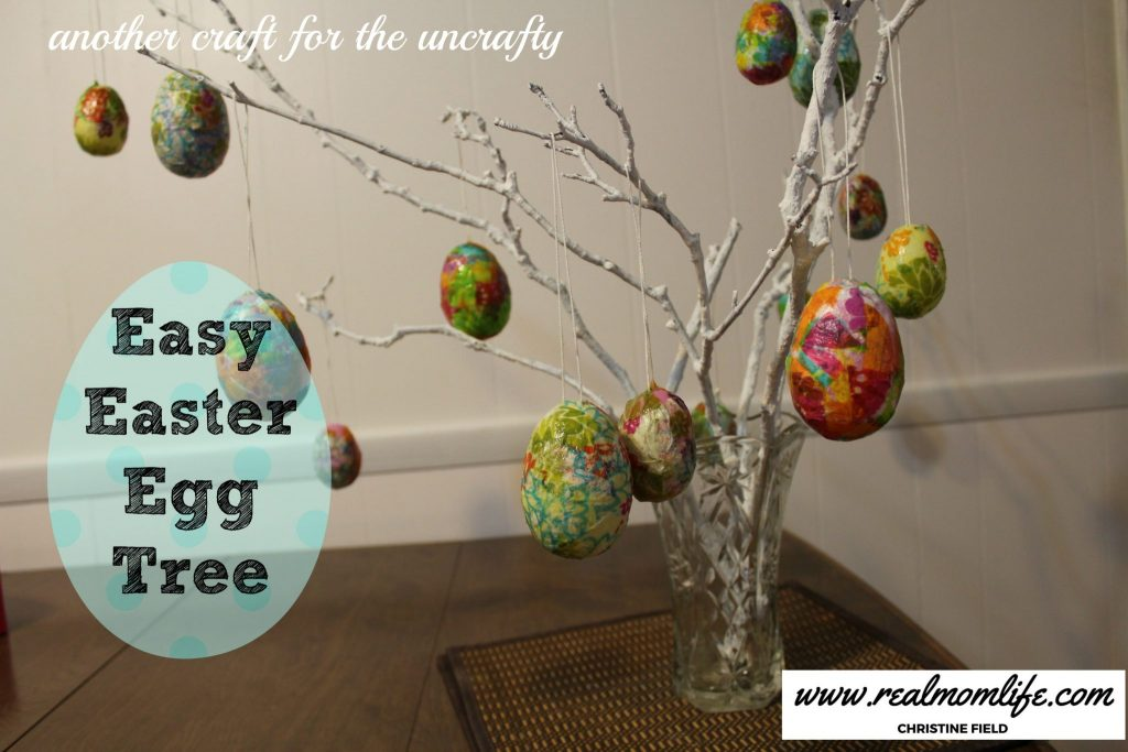 Easy easter craft easter egg tree real mom life How to make an easter egg tree