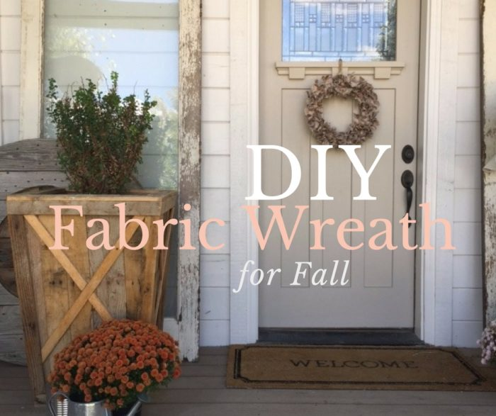 Learn how to make a fall wreath made with fabric scraps. A simple DIY craft tutorial idea that is perfect for hanging on the front door.